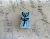 Hand carved rubber stamp - leaves, plant