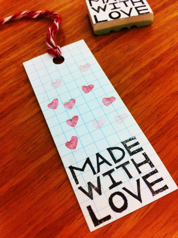 Handcarved rubber stamp - Made with Love