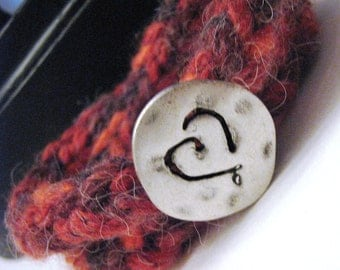 Knit Double Cord Bracelet with Silver Hammered Heart
