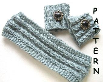 pdf Knitting Pattern - Headband and Cuff Set