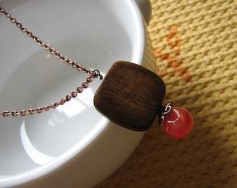 Long Antiqued Copper, Oak and Orange Necklace - Pumpkin Dreams