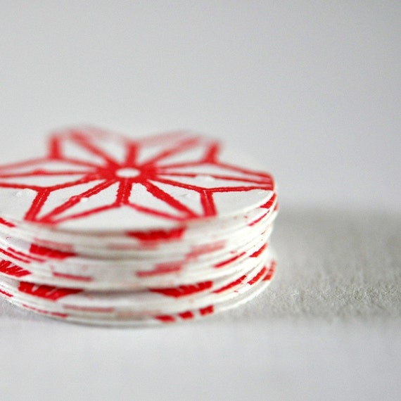 12 Embossed Paper Stickers Red