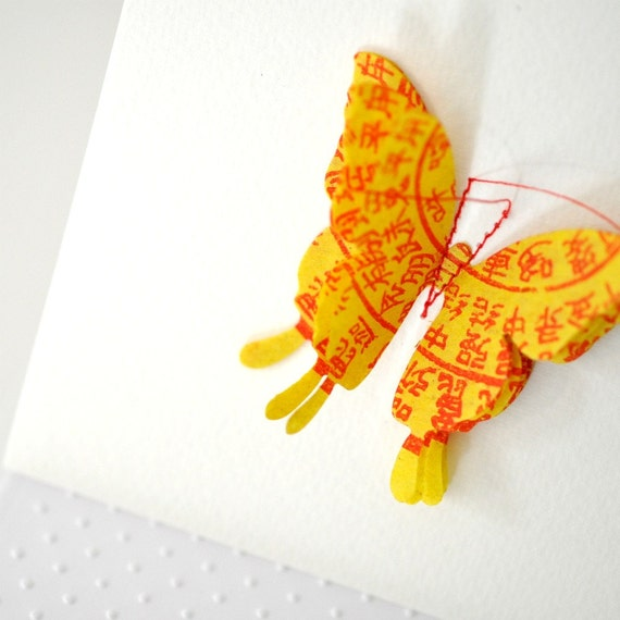 Stitched Yellow Butterfly Card | Butterfly Card | Butterfly Collage Card | Pop Up 3D Butterfly Card | Be My Valentine Card