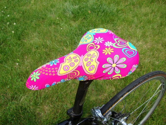 Bicycle Saddle Cover - Butterflies and Flowers on Pink