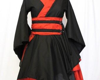 Black X Red Kimono Dress with Double Asymmetric Hem