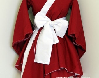 Red X White Kimono Dress with Asymmetric Hem