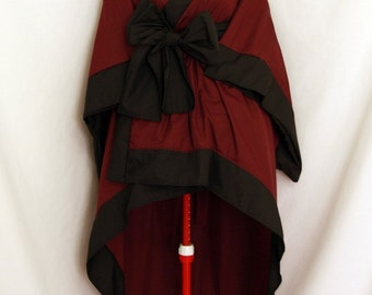Wine X Black Kimono Dress with Descending Hem