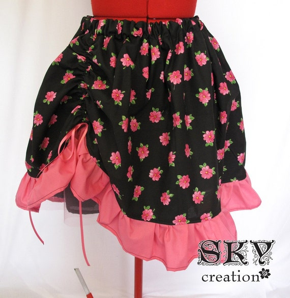 Loli Skirt Black with Pink Flowers
