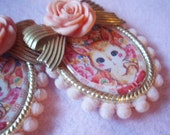 Vintage Bunny Rabbit Cameo Rose Bow Earrings