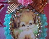 Vintage Retro Puppy Dog Cameo Decorative Pendant Flower Bow Necklace