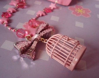 20% OFF Baby Pink Bird Cage Kawaii Beaded Chain Bow Necklace