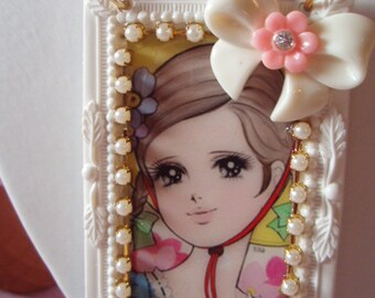 Vintage Anime Bonnet Girl Flower Bow Chunky Beads Big Frame Pendant Necklace