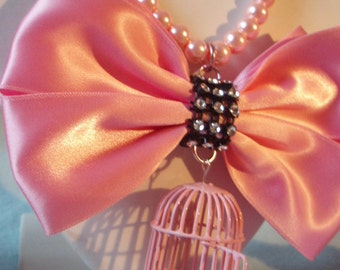 20% OFF Baby Pink Bird Cage Kawaii Huge Bow Beaded Necklace