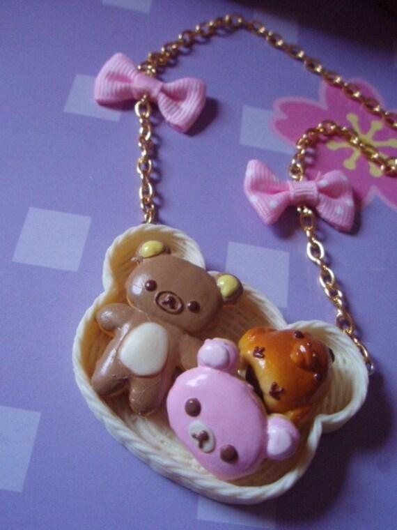Rilakkuma Bear Sweet Dessert Pastries Basket Bow Necklace
