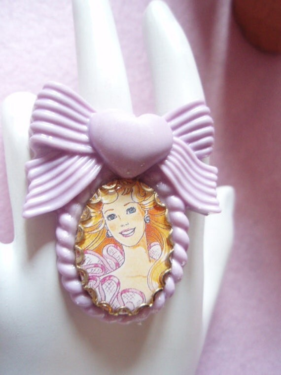 20% OFF Barbie Cameo Violet Heart Bow Setting Ring