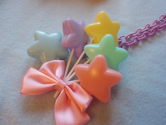Pastel Star Balloons Sweet Lolita Fairy Kei Bow Necklace