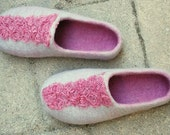 Grey/ pink felted wool slippers/ home shoes HANDMADE TO ORDER