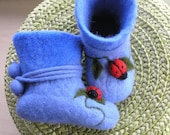 Handfelted  slippers/ home shoes  with lady-birds HANDMADE TO ORDER