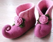 Fairy shoes felted home slippers in pink color with roses can be made in custom colors HANDMADE TO ORDER
