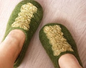 Handfelted wool slippers Green, size 9 available, READY TO SHIP