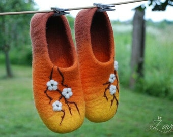 CUSTOM MADE handfelted  home shoes Cherry blossom in orange
