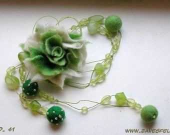 CUSTOM made Beautiful green necklace with felted wool flower, pick your color