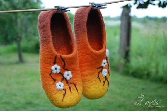 Cherry blossom- handfelted  orange slippers/ home shoes HANDMADE ORDER