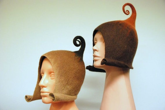 Good mood hats for gnomes/ Handfelted, made of Merino wool, women size MADE TO ORDER