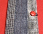 NOOK E-Reader BOOK STYLE Cover  - Custom Made Using Re-Purposed Wool Suit Coats and Sport Jackets