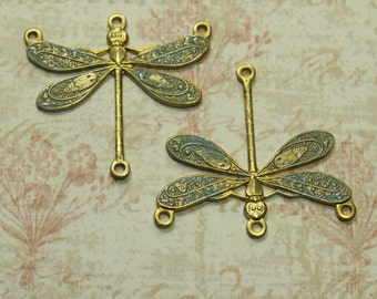 2 Tiny Minty Dragonfly Charm Links