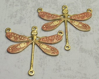 2 Tiny Shimmery Copper  Dragonfly Charm Links
