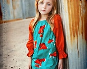 Goldfish - Peasant dress in organic orange cotton and turquoise goldfish print with 3/4 sleeves