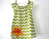 Mod lime green and chartreuse chevron stripe dress with orange flower applique