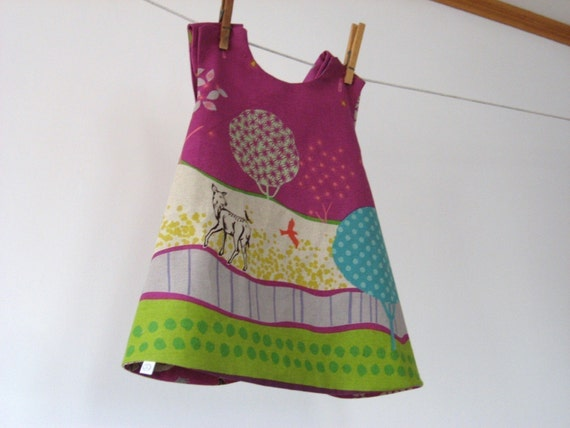 Reversible dress in Raspberry, Grassy Plains by Echino