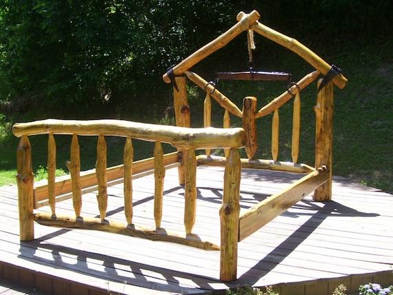 Queen size log bed 013