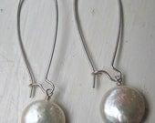 Drop Coin Pearl Earrings
