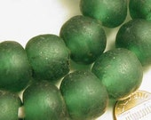 Recycled Green Glass Bead Ghana Africa - 3 pcs. - (GR289)