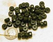 Glass Khaki Green Beads - 24 Beads - 7mm.