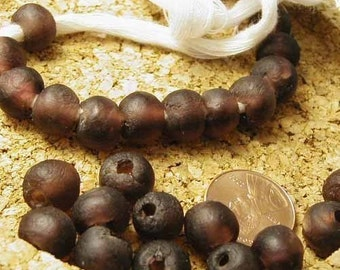 Purple Recycled Glass Beads - 16 pcs. - Ghana Africa