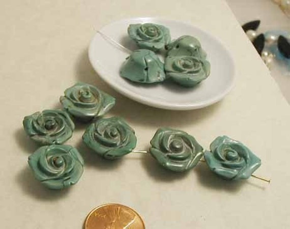 Carved Roses - Stabilized Turquoise - 3 pcs.