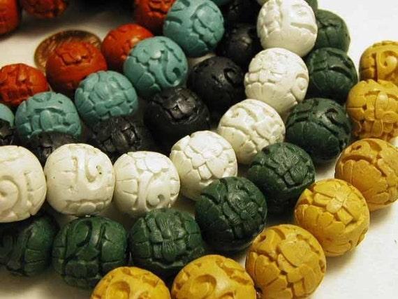 White Cinnabar Beads - 8 pcs
