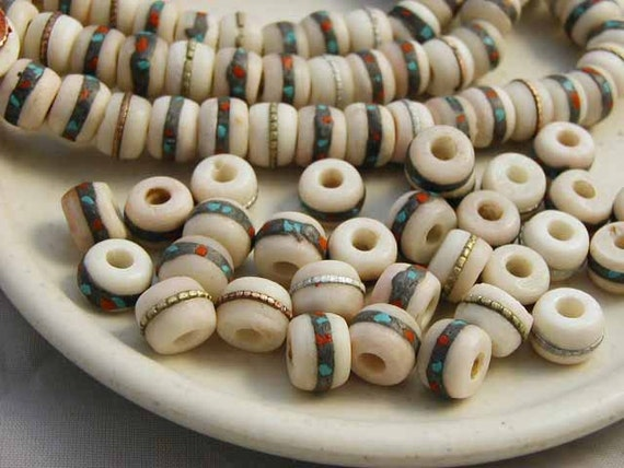 White Yak Bone Prayer Beads Turquoise Coral Inlay Metal Stripe Inlay - 10 pcs. - YB546