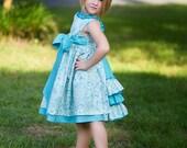 Beatrice - Girls Aqua and Ivory Dress - Sizes 6-7-8