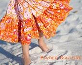 Girls Summer Tangerine Dream Dress - Size 5-6-7