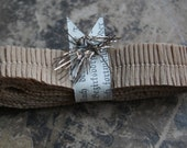 RUFFLE SALE 20% OFF Vintage Crepe Paper Ruffles Petite Warm Brown Sugar 3/4 Inch - Autumn Brown Trim - Brown Sugar Fall Garland