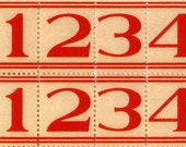 50 Red Lined Number Labels - Vintage Style Labels - Numbers - Sticker Labels