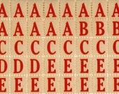 320 Red Alphabet Letter Labels - Vintage Style Labels - Alphabet Letter Stickers Vintage Style - Letter Labels - DIY Packaging