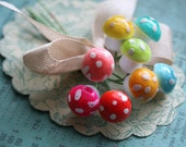German Spun Cotton Mushrooms Variety Pack of 8 - Tiny Pastel Mushrooms - Polka Dot Woodland Fairy Toadstools