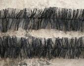 Deep Black Sheer Handmade Halloween Tulle Ruffles