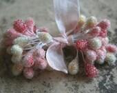 Strawberry Pink Sugar Stamen Bundle - Wedding Millinery Stamens - Double Ended Stamen Pips - Corsage Making Supplies - Spring Ornament Trim